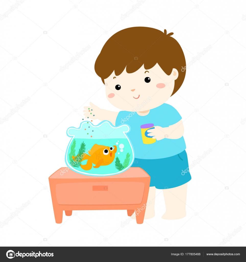Ilustração De Menino Bonitinho Alimentar Peixes Em Desenho