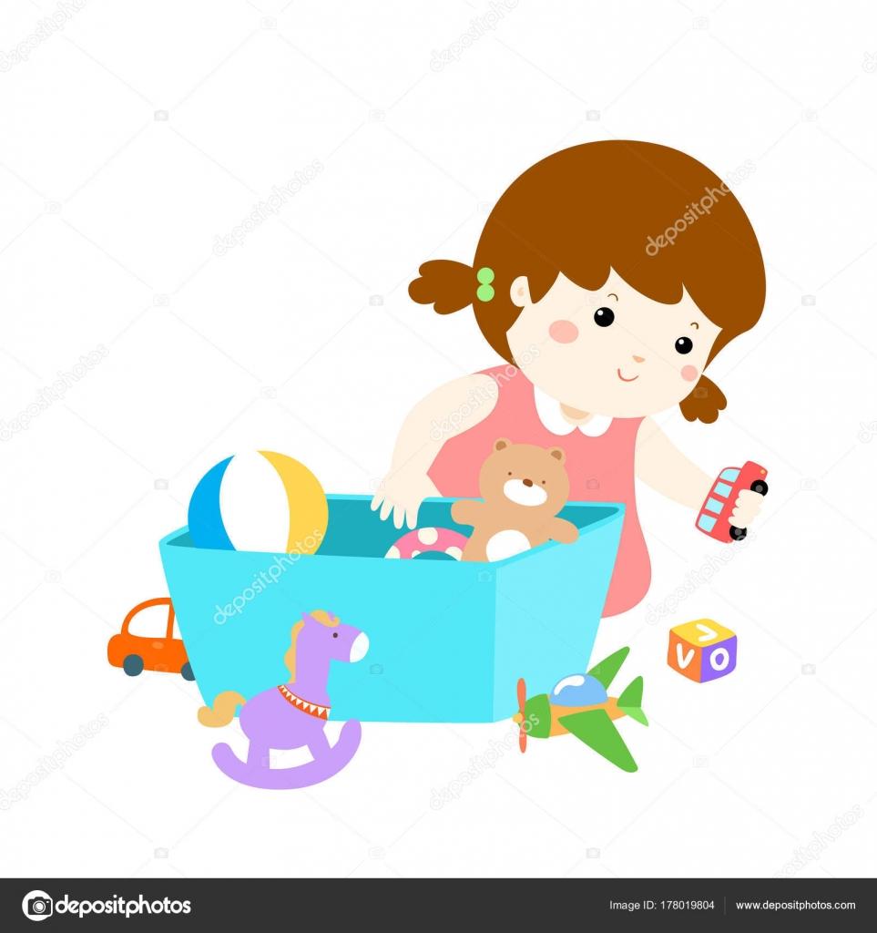 ilustraci n de chica linda de la historieta almacenar juguetes vector de stock onontour. Black Bedroom Furniture Sets. Home Design Ideas