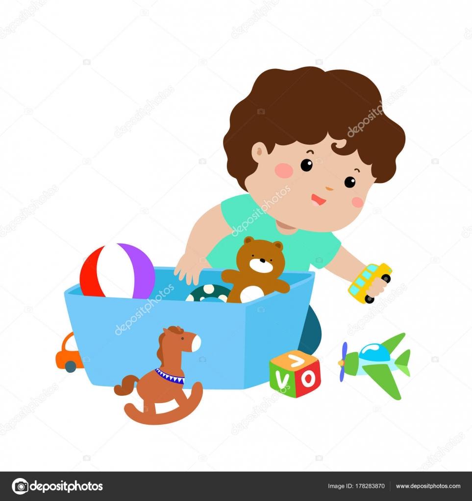 ilustra o sorridente menino crian a guardar seus brinquedos caixa vetores de stock onontour. Black Bedroom Furniture Sets. Home Design Ideas