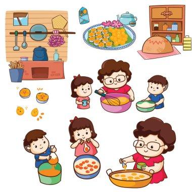 Mother make Thai dessert with children together illustration pack. icon