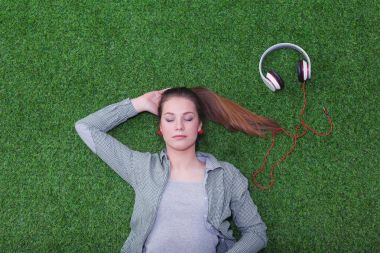 Woman listening to the music. Woman.