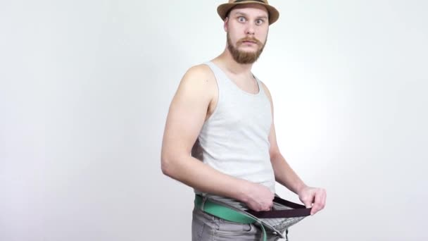 Small penis size problem for men.Looking for his erection to a magnifying glass.