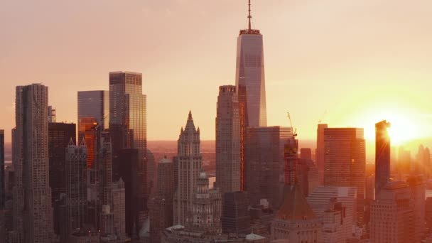 AERIAL: Beautiful Sunset vibe in Manhattan Skyline in New York City beautiful