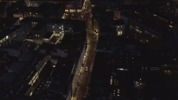 AERIAL: City Detail Shots at Night in Cologne Germany