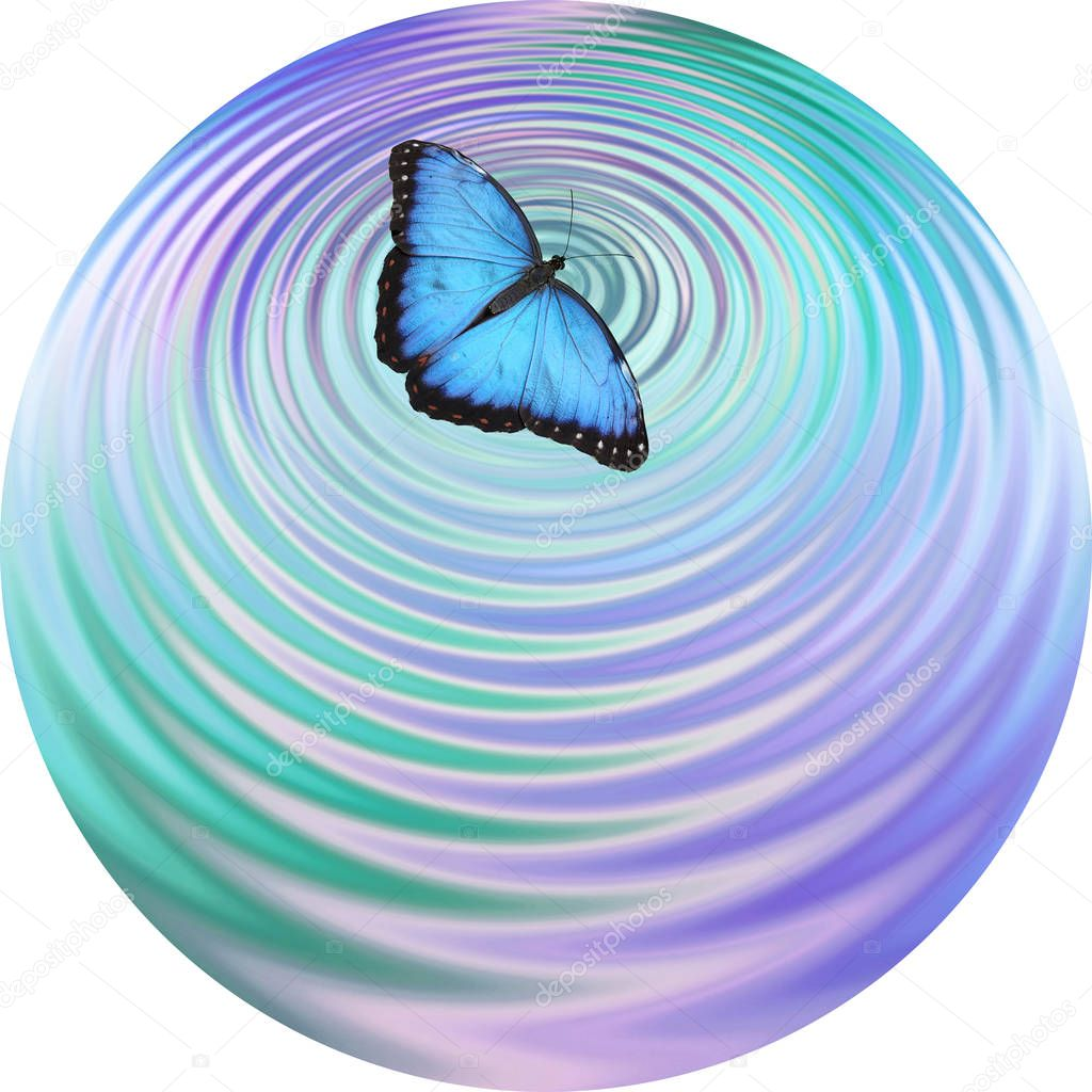 Blue Butterfly making ripples on water coaster drinks mat clock face