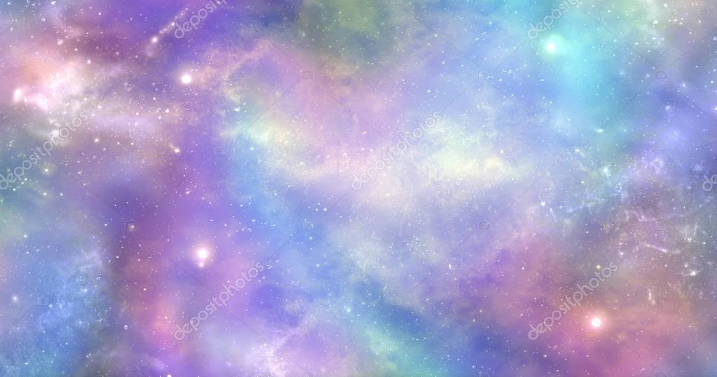 Space is not just dark and deep it is also filled with heavenly light and color - Vibrant deep space banner background  with many different stars, planets and cloud formations
