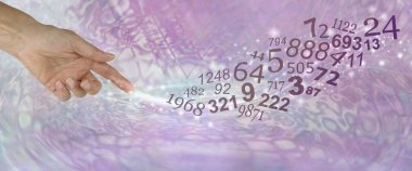 Consult a Numerologist and learn about your NUMBERS - female pointing and creating a swish of sparkles and a flow of random numbers on a muted pink purple psychedelic background