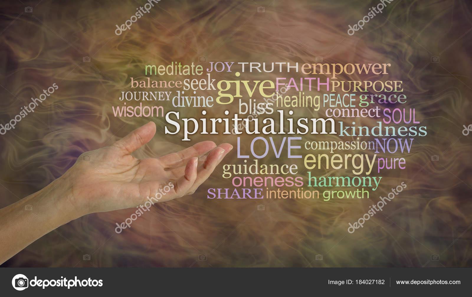 Significado Espiritismo Palabra Nube Mujer Mano Gesticulando Hacia