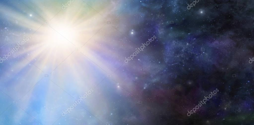 Deep Space Big Bang Event - Wide panel of dark starry outer space with  a massive light burst big bang phenomenal event
