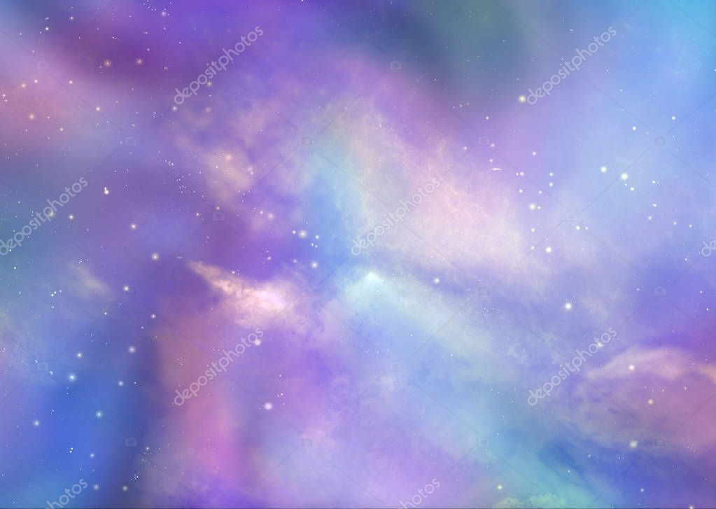 The Beautiful Heavens Above Us - Pink and blue deep space background with many stars, planets and cloud formations