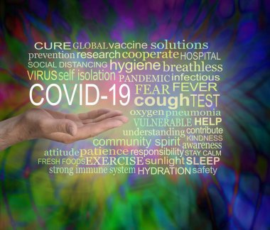 Coronavirus COVID 19 awareness tag word cloud - male open palm hand with the words COVID 19 surrounded by a relevant word cloud against a multicoloured modern abstract  background
