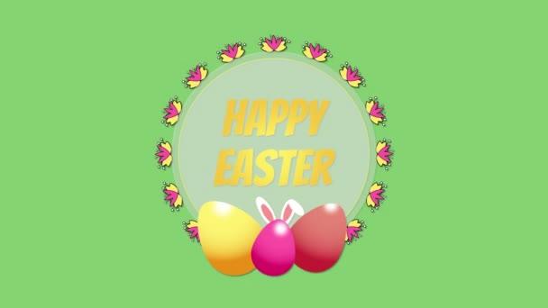 animierte Nahaufnahme frohe Ostern Text und Eier auf grünem Hintergrund Luxus und eleganten dynamischen Stil Vorlage für Urlaub