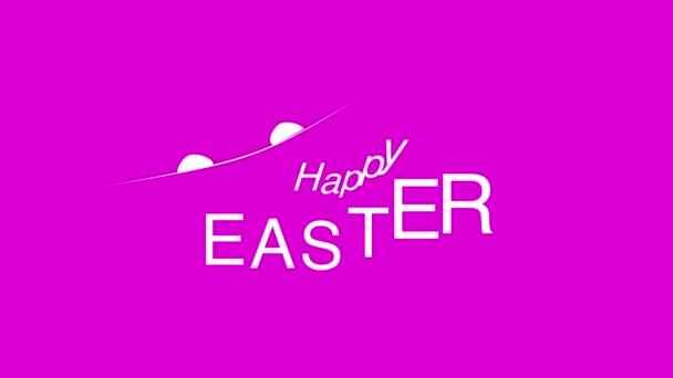 animierte Nahaufnahme glückliche Ostern Text und Hase auf rosa Hintergrund Luxus und eleganten dynamischen Stil Vorlage für den Urlaub
