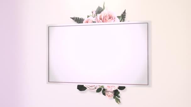 closeup vintage keret virágokkal mozgás esküvő háttér elegáns és luxus pasztell stílusú animációs felvételek