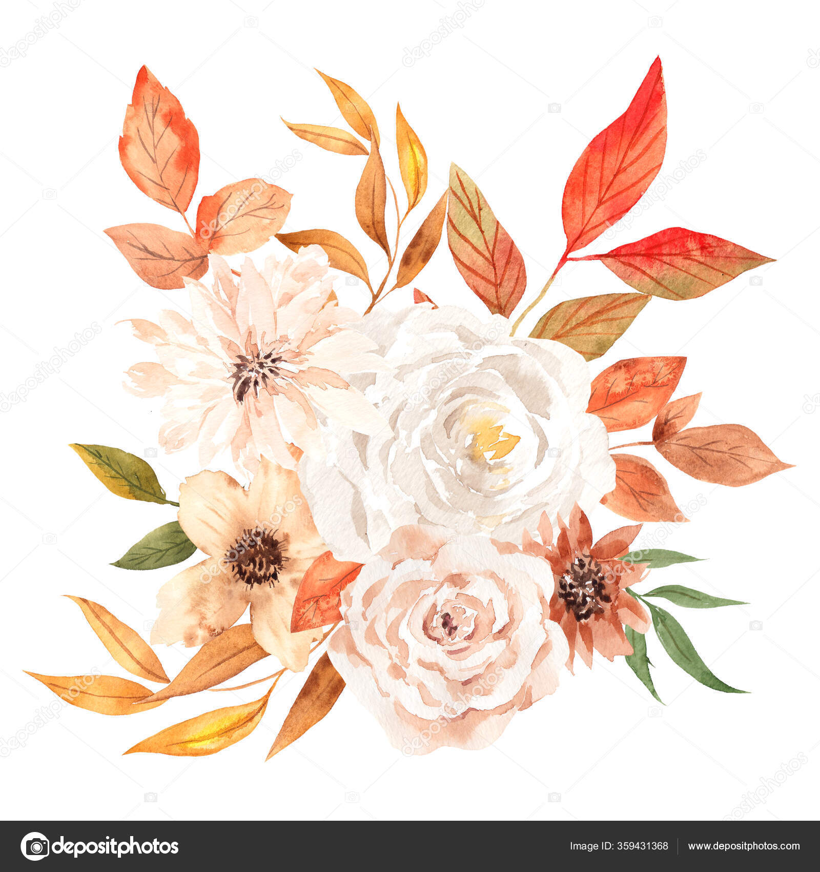 Autumn Bouquet Pretty Flowers Leaves Watercolor Hand Draw Floral Element Stock Photo Image By C Ma I Vi 359431368