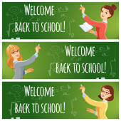 Cartoon young teacher wrote on the school board. Teacher welcomes students back to school