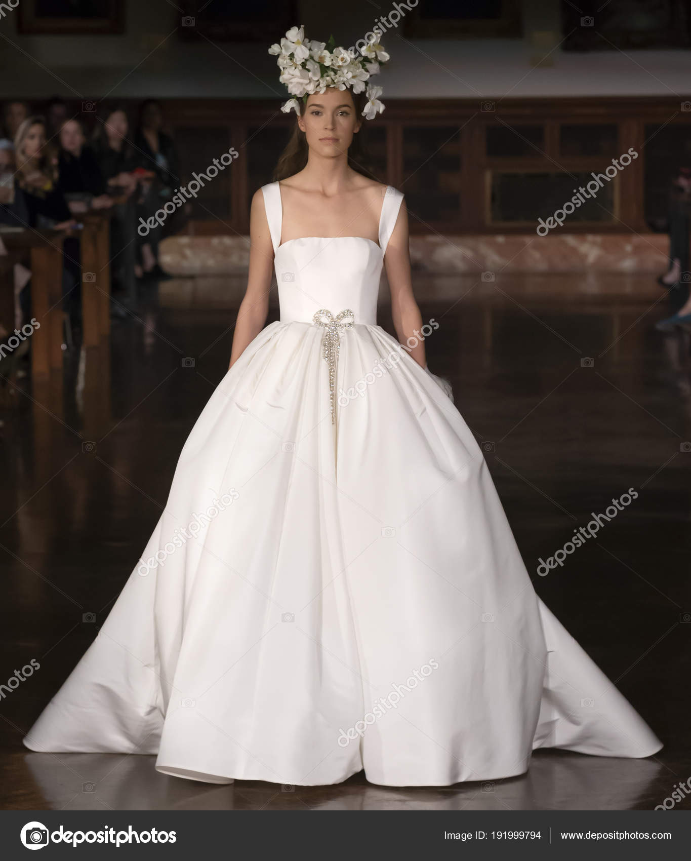 1ce3dd64ade2 NEW YORK, NY - April 12, 2018: A model walks the runway at the Reem Acra  Bridal Spring 2019 Collection Runway Show during NY Fashion Week Bridal —  Photo by ...