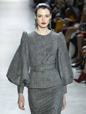 New York, New York - Feb. 08, 2020: Marfa Manakh walks the runway at Badgley Mischka Fall Winter 2020 Fashion Show