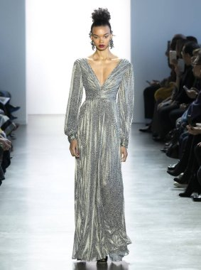 New York, New York - Feb. 08, 2020: Djenice Duarte Silva walks the runway at Badgley Mischka Fall Winter 2020 Fashion Show