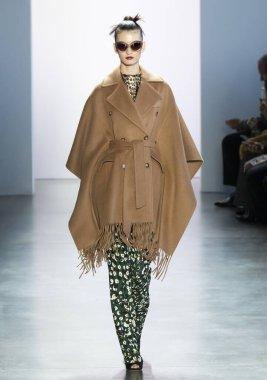 New York, New York - Feb. 08, 2020: A model walks the runway at Badgley Mischka Fall Winter 2020 Fashion Show