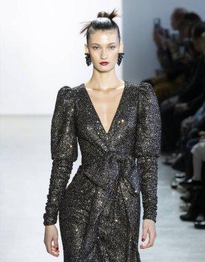 New York, New York - Feb. 08, 2020: Kely Ferr walks the runway at Badgley Mischka Fall Winter 2020 Fashion Show
