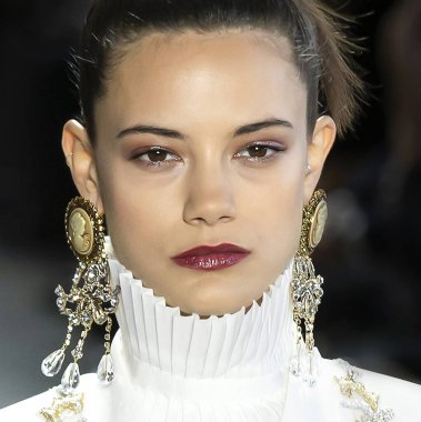 New York, New York - Feb. 08, 2020: Anja Leuenberger walks the runway at Badgley Mischka Fall Winter 2020 Fashion Show
