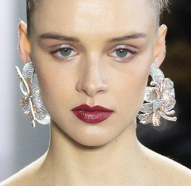 New York, New York - Feb. 08, 2020: Nina Dapper walks the runway at Badgley Mischka Fall Winter 2020 Fashion Show