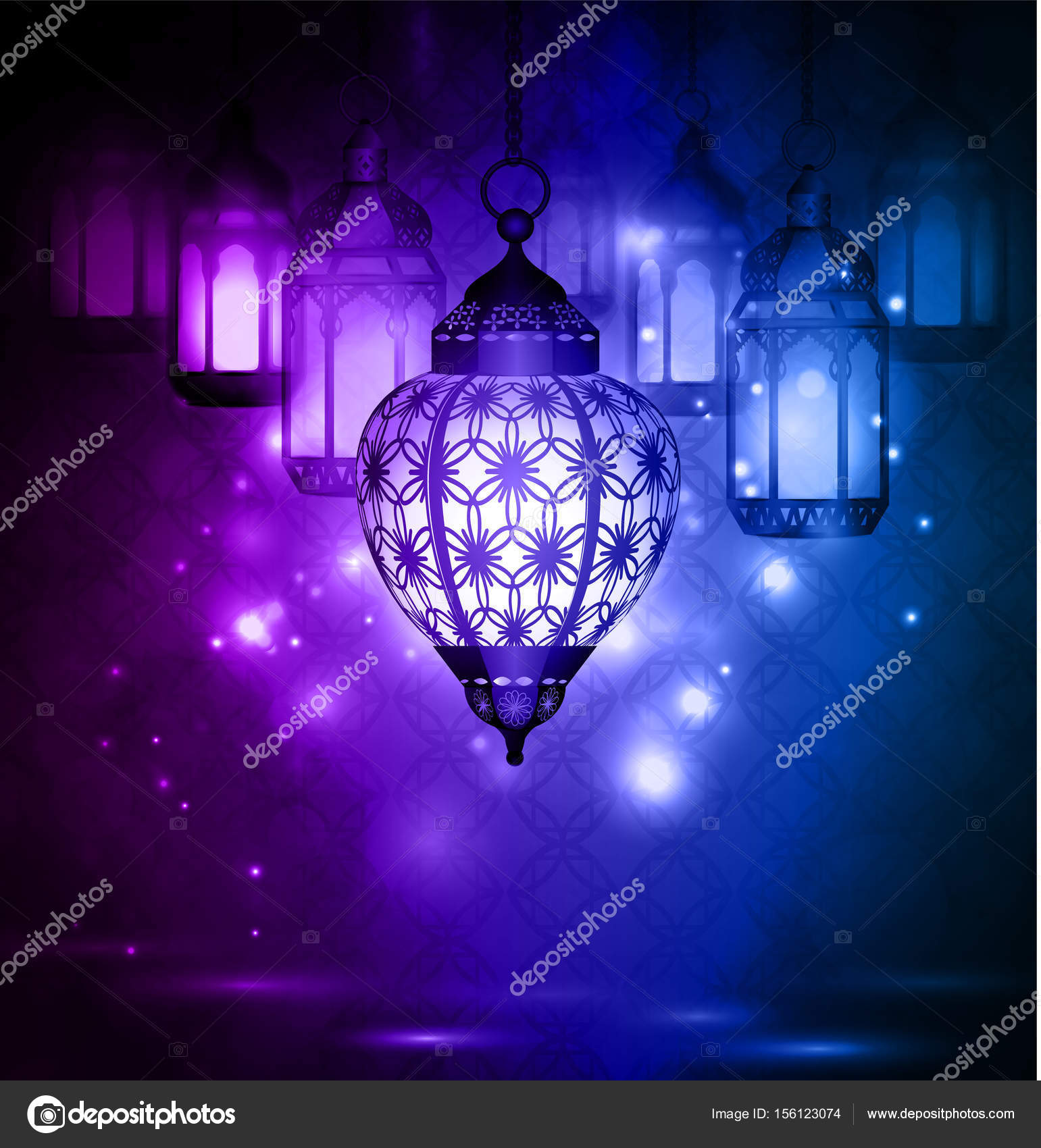 Intricate Arabic Lamps With Lights U2014 Stock Vector