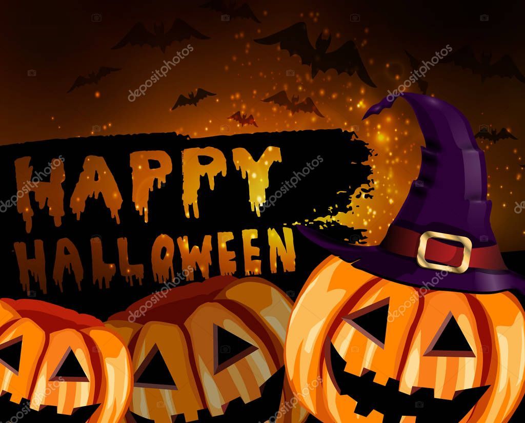 Happy Halloween Calligraphy Halloween Banner Halloween Lettering With Witch Hat Bats Two Pumpkins And Stars Vectore Premium Vector In Adobe Illustrator Ai Ai Format Encapsulated Postscript Eps Eps Format
