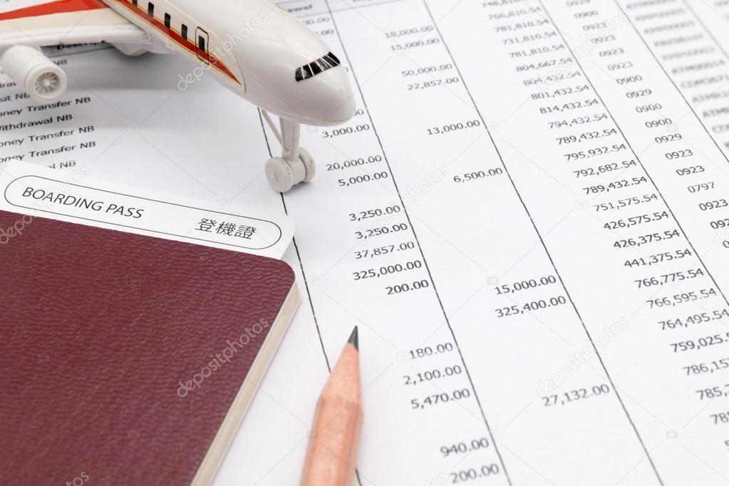 Finanzieren Sie monatliches Budget planen, über Reisekonzept ...