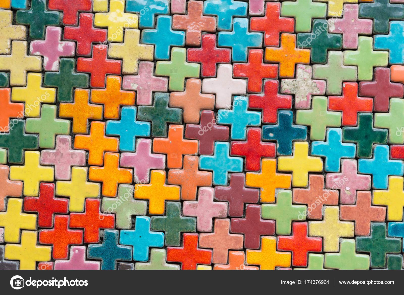 Bunte Fliesen Hintergrundwand Stockfoto C Zenstock 174376964