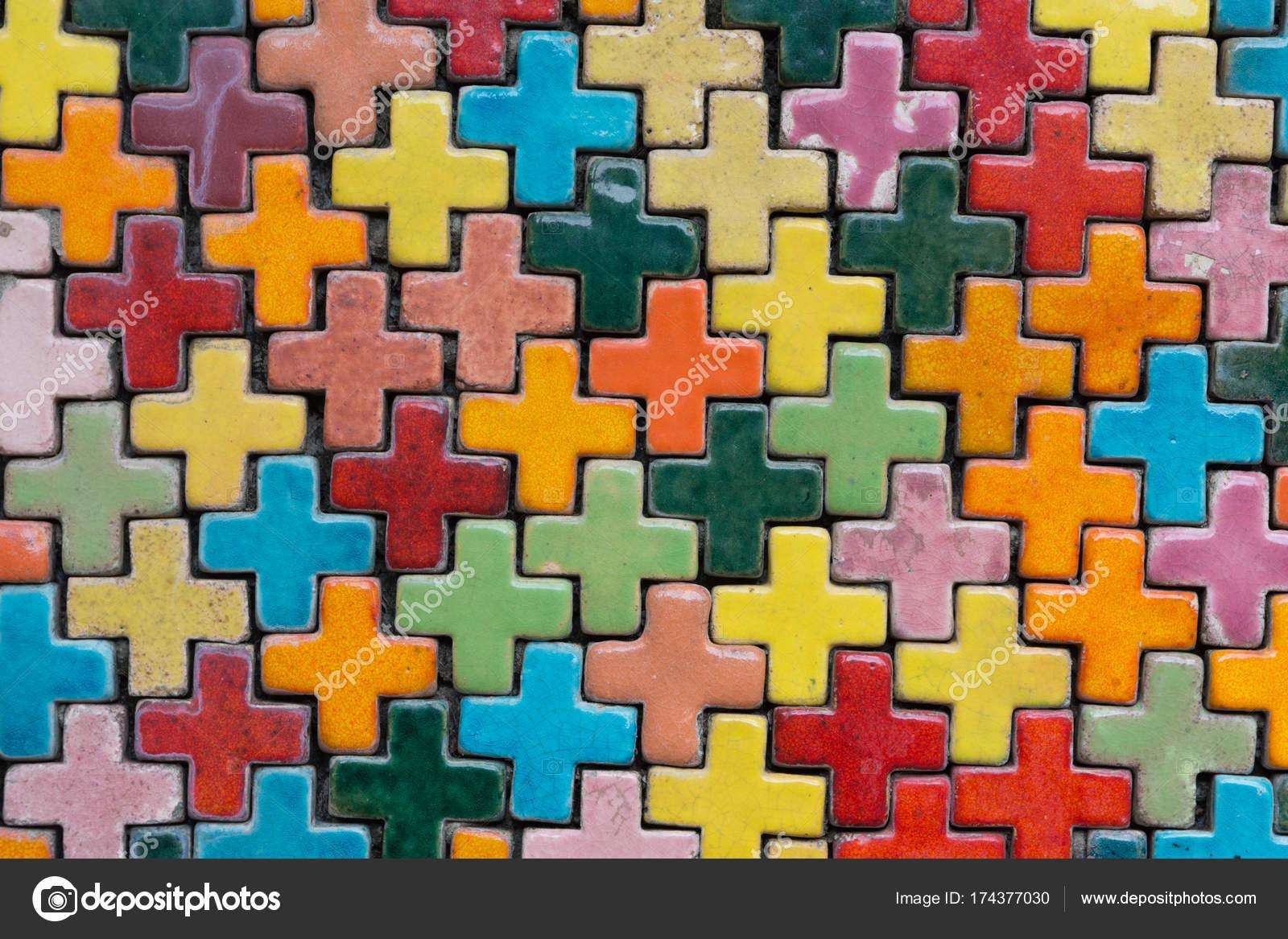 Bunte Fliesen Hintergrundwand Stockfoto C Zenstock 174377030