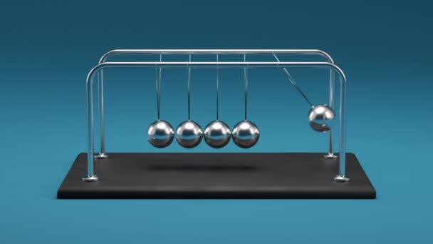 4K Animation of a Newtons Cradle, Chrome Metal Spheres with Reflections in Colliding Movement Motion Concept, Without Friction and Loss of Energy, in Looping, Front View, Blue Background