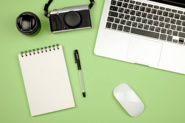 Flat lay photo of home office desk