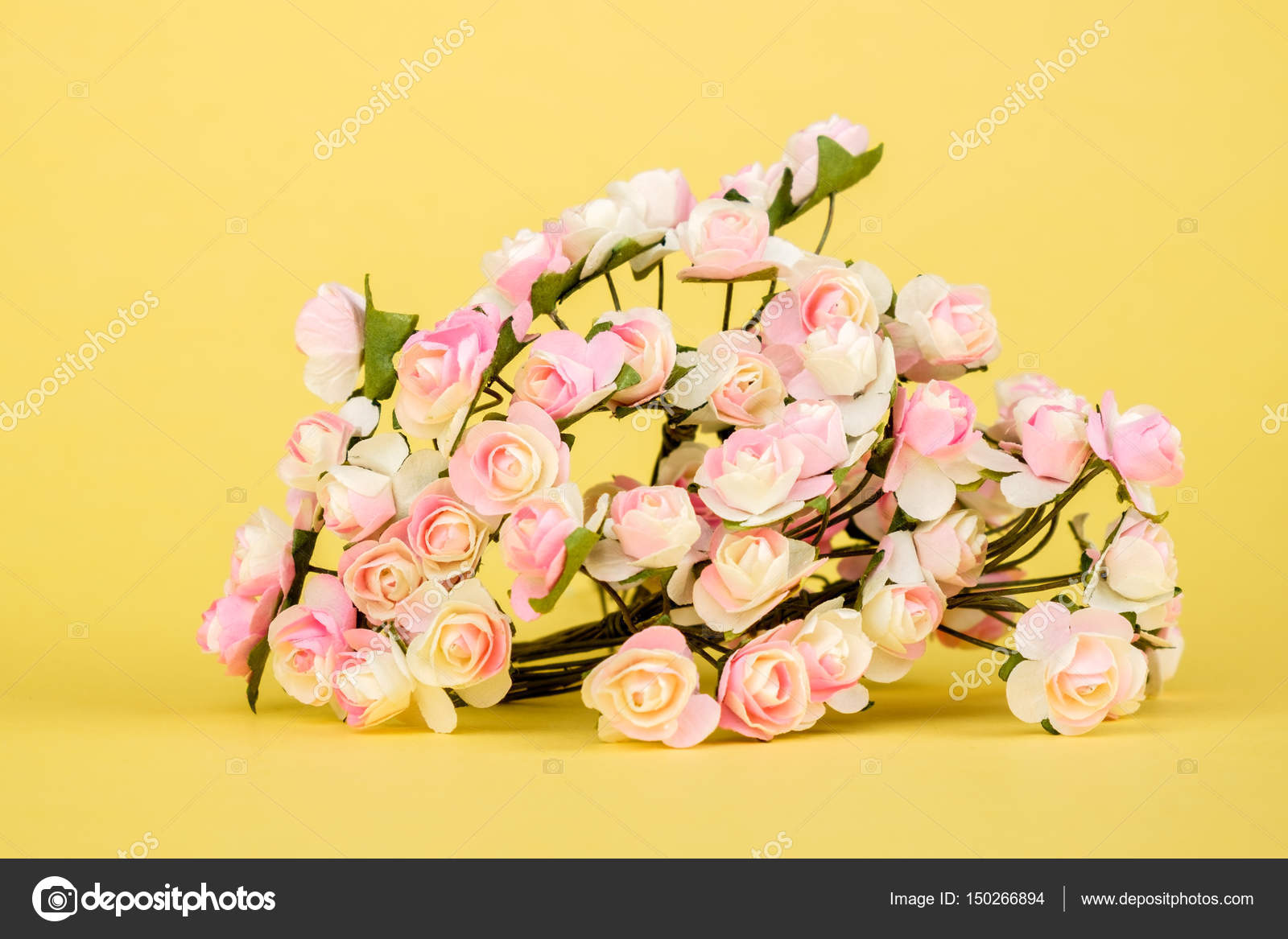 Beautiful Artificial Flowers On Colourful Background Stock Photo