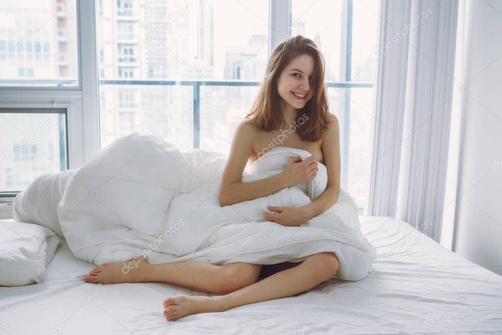 Sexy Young Naked Woman Sitting On Stock Photo