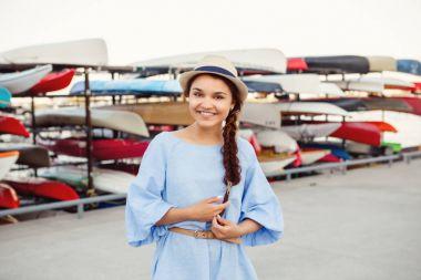 smiling  Caucasian brunette woman