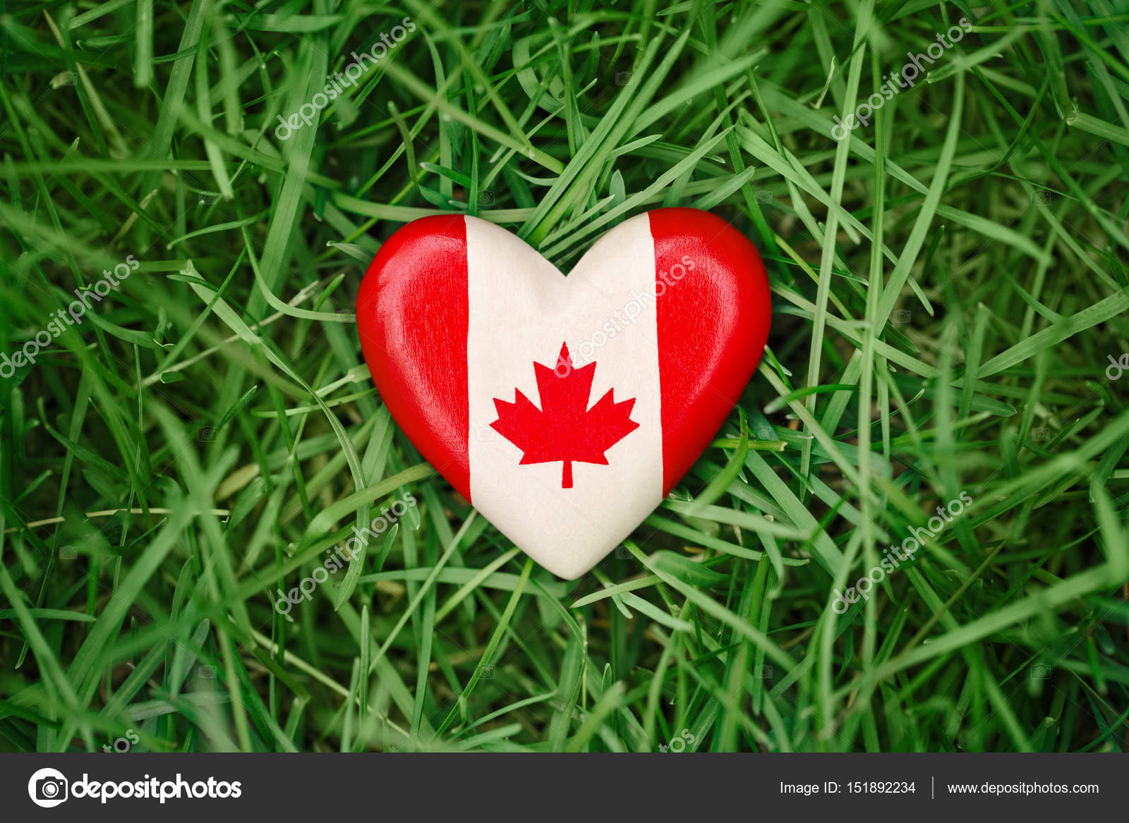 wooden small heart with red white canadian flag maple leaf lying