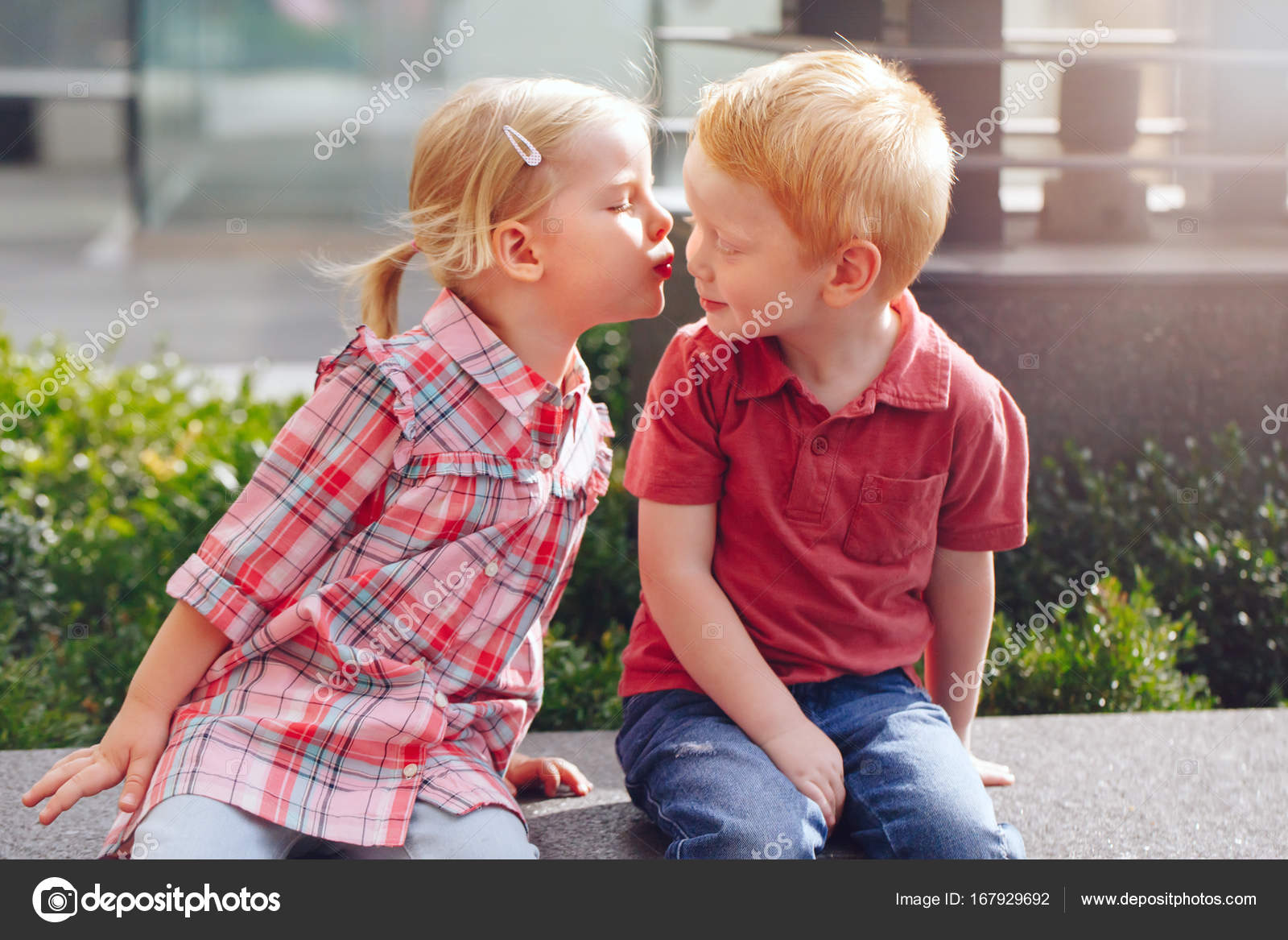 Little Boy And Girl Kissing Each Other  Stock Photo -8700