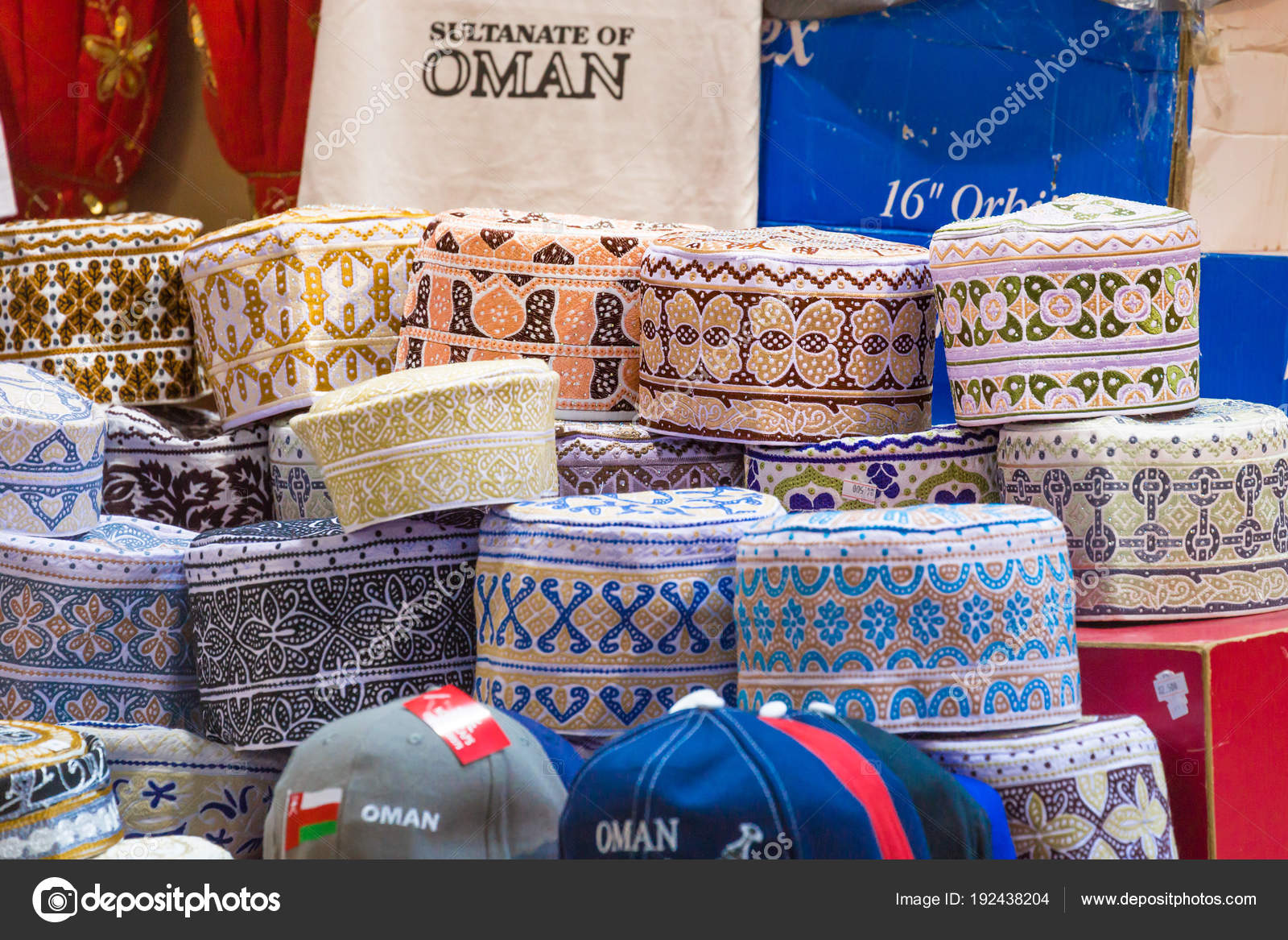 Traditional caps at ancient Mutrah Souq, Muscat, Oman – Stock