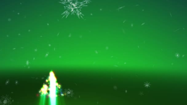 Growing Christmas tree and blizzard of snowflakes on a green background.
