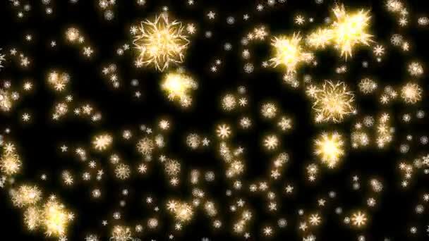 Vánoce a nový rok animace. Zlatý vánoční vločky na černém pozadí. Velké sněhové vločky padající