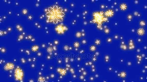 Vánoce a nový rok animace. Zlatý vánoční vločky na modrém pozadí. Velké sněhové vločky padající