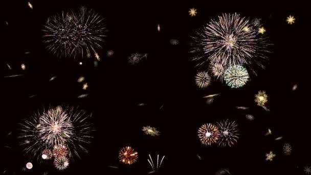 Nový rok 2017 od sněhové vločky na pozadí aplikace fireworks