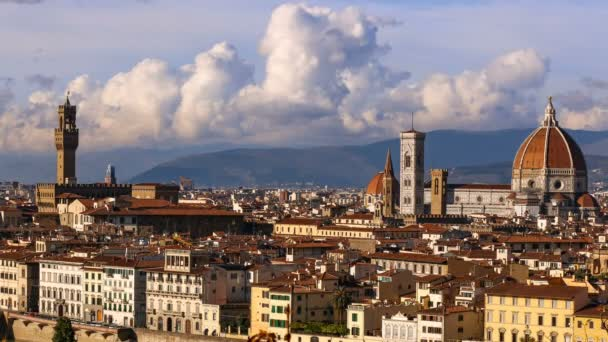 Beautiful views of Florence and Cathedral Santa Maria del Fiore, Florence, Italy. Cloudy sky, time-lapse.