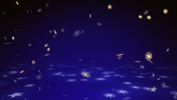 Vánoce a nový rok animace. Zlatý vánoční vločky na tmavě modrém pozadí
