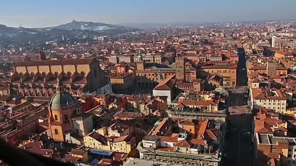 Italia. Splendide vedute della vecchia Bologna. Zoom. Vista aerea panoramica dalla Torre degli Asinelli a Bologna, Italia