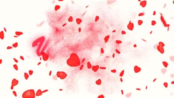 Šťastný Valentines Day Gold Text. Valentinky den abstraktní pozadí, létající srdce a částice. Bílé pozadí