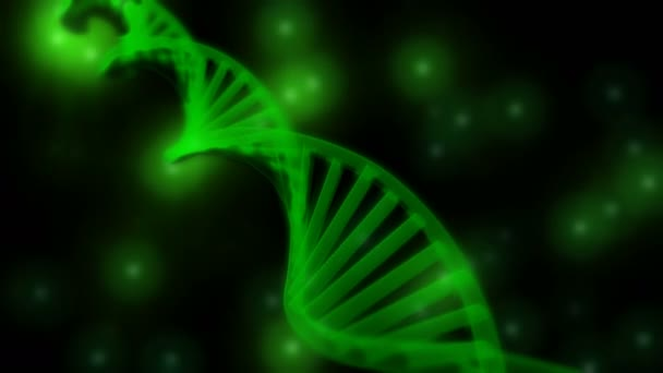 3D semitransparent green DNA chain rotation abstract on blue background. Rotating strand of DNA.