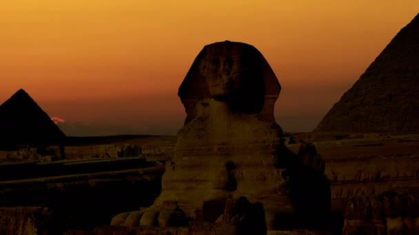 Timelapse. Sunrise over the pyramid of Cheops and Sphinx. Giza Egypt. v.5